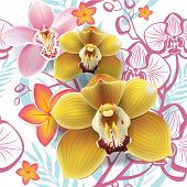 pic of yellow orchid  - Seamless floral pattern with yellow orchid  - JPG