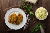 foto of mashed potatoes  - Schnitzel with herbs mashed potatoes and chives - JPG