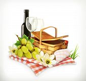 Постер, плакат: Time for a picnic nature outdoor recreation a tablecloth and picnic basket wine glasses and grap