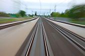 stock photo of high-speed train  - Railway tracks with high speed motion blur - JPG