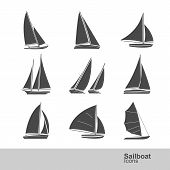 picture of yachts  - yacht and sailboat silhouette icon set  - JPG