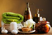 pic of composition  - Composition of spa treatment on wooden table - JPG