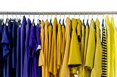 pic of clothes hanger  - Set of Variety of casual female clothing on hangers  - JPG