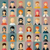 Постер, плакат: Flat people character avatar icons