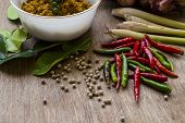 picture of chillies  - hot chillies with Pork with yellow curry paste and spices - JPG