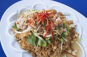picture of catfish  - Spicy Crispy Catfish in white plate blue table - JPG