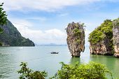 picture of james bond island  - High angle view beautiful landscape sea and sky at Khao Tapu or James Bond Island in Ao Phang Nga Bay National Park Thailand - JPG