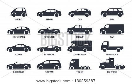 poster of Car Type and Model Objects icons Set, automobile. Vector black illustration isolated on white background with shadow. Variants of car body silhouette for web.
