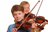 stock photo of string instrument  - Two kids playing violin isolated on white background - JPG