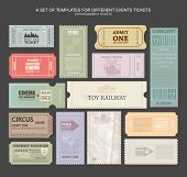 Постер, плакат: tickets in different styles Vector illustration Collection vintage tickets and Coupons tickets for