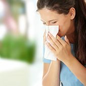 picture of sneezing  - Teen woman with allergy or cold - JPG