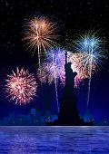 picture of new york night  - Image of New York City with fireworks - JPG