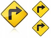 stock photo of road sign  - Set of variants Right Sharp turn traffic road sign isolated on white background - JPG