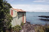 picture of scoria  - a weathered boat shed sits on the rocky shore of rangitoto island hauraki gulf new zealand - JPG