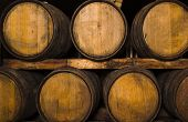 foto of wine cellar  - Barrels in a wine - JPG