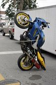 stock photo of crotch-rocket  - racing bike parked on back skid plate - JPG