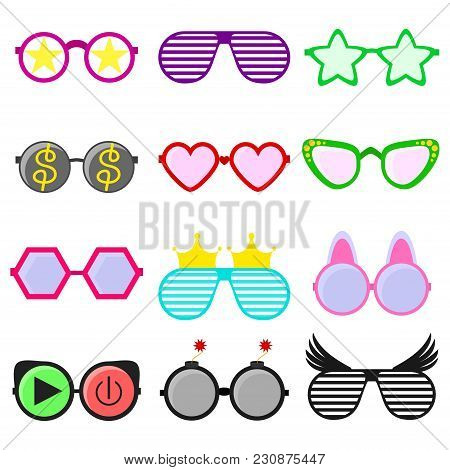 poster of Vector Party Sunglasses Or Eyeglasses Set In Funny Shape. Accessories For Hipsters Fashion Optical S