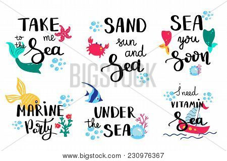 poster of Summer Lettering. Set Hand Drawn Icons, Signs And Banners. Bright Summertime Poster. Collection Summ