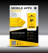 Mobile Apps Flyer Template. Business Brochure Flyer Design Layout. Smartphone Icon Mockup. Applicati poster