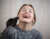 The Rat And The Girl. Emotional Portrait, Vivid Emotions From Acquaintance With Rodent poster