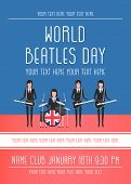 Постер, плакат: November 19 2017 Editorial Illustration Of The Beatles World Beatles Day On January 16th Topic