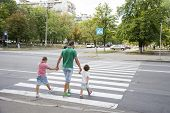 In The Summer On The Street At The Pedestrian Crossing Father And Son And Daughter Cross The Road. D poster
