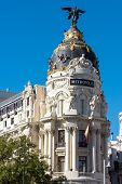 The Famous Metropolis Building Seen In Madrid, Spain poster
