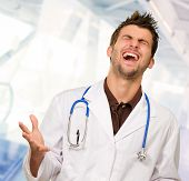 Portrait Of Excited Doctor, Indoors poster