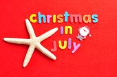The Words Christmas In July In Colorful Letters On A Red Background With A Starfish And A Santa Figu poster