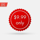 Price Discount Sticker. Sale Red Tag Isolated Vector Illustration. Discount Offer Price Label, Vecto poster