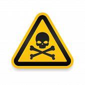 Skull And Bones Logo Warning Attention Icon. Poison Symbol. Flat Vector Illustration. Vector Attenti poster