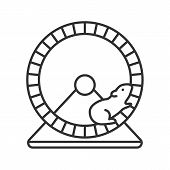 Hamster Wheel Linear Icon. Rodent Cage Equipment. Thin Line Illustration. Contour Symbol. Vector Iso poster
