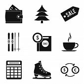 Winter Entertainment Icons Set. Simple Set Of 9 Winter Entertainment Vector Icons For Web Isolated O poster