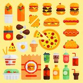 Cartoon Fast Food Vector Cuisine Burger And Pizza, Drinks Icons Isolated On Background Restaurant Ta poster