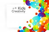 Creative Kids Cards With Colorful Bubble Decoration And Starry Texture. Horizontal Background poster