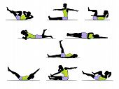 stock photo of hamstring  - Set of 9 vector pilates exercise poses - JPG