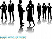 stock photo of person silhouette  - business people chatting in silhouette with a gradient shadow - JPG