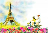 Paris European City Landscape. France, Eiffel Tower And Couple Love Man, Woman, Cycling Tour In Rose poster