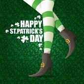 Vector Creative Saint Patrick Day Greeting Card With Cartoon Leprechaun Girls Legs With Green Stripp poster