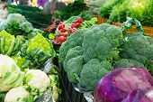 Variety Assortment Of Fresh Ripe Organic Vegetables At Farmers Market. Broccoli Cabbage Radish Lettu poster