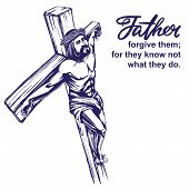 Jesus Christ, The Son Of God, Crucified On A Wooden Cross, Symbol Of Christianity Hand Drawn Vector  poster