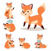 Fox Cute Adorable Character Doing Different Activities Funny Happy Nature Red Tail And Wildlife Oran poster