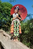 picture of hmong  - Portrait Hmong from Laos with parasol and traditional national costume