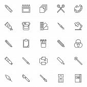 Design Tools Outline Icons Set. Linear Style Symbols Collection, Line Signs Pack. Vector Graphics. S poster