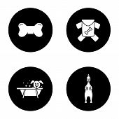 Pets Supplies Glyph Icons Set poster