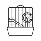 Hamster Cage Linear Icon. Thin Line Illustration. Rodent Wheel. Contour Symbol. Vector Isolated Outl poster