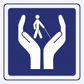 stock photo of physically handicapped  - vector illustration of a blind care sign concept - JPG