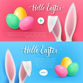 Hello Easter Bunny Button Set. Pink And Blue Cards With Rabbit Ears, Color Eggs And Button Start And poster