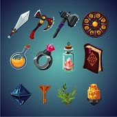 Legendary Collection. Set Of Magic Items For Computer Fantasy Game. Isolated Cartoon Icons Set. poster
