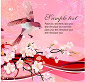 image of nightingale  - Flying nightingale and blossoming tree - JPG